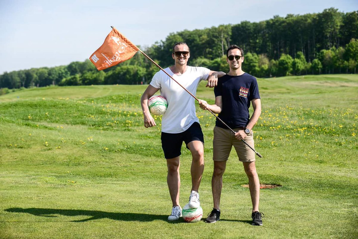 Cris and Kent challenged each other in footgolf this afternoon. #WeAreVeszprem https://t.co/f2AsOzgVa5