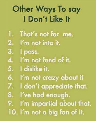 Other ways to say &quot;I don&#39;t like it&quot; #English #learnenglish #vocabulary #esl #EnglishLanguage #EnglishTeacher #EnglishExpressions<br>http://pic.twitter.com/K9vAm6KyOL