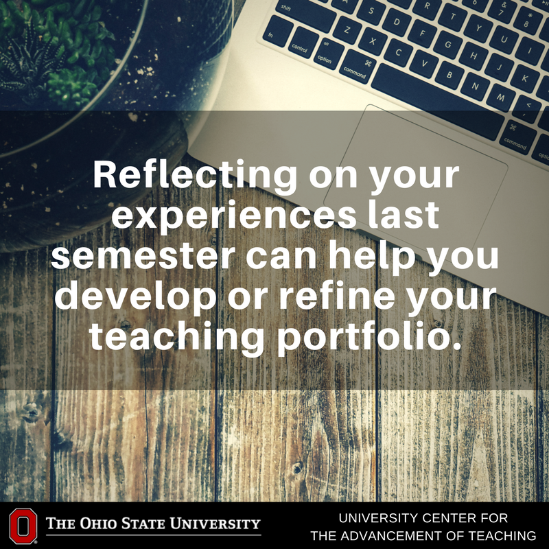 Because your teaching experience changes as your career progresses, it is a good idea to periodically update your portfolio(s) in order to keep current with your progress, and to give yourself a regular opportunity to reflect on your teaching. https://t.co/ONJ9Eyckm6