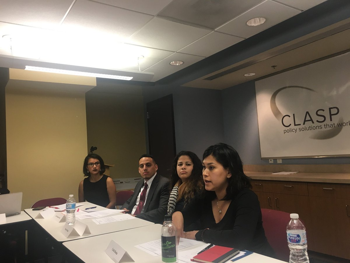 Thank you Carla, Naraya, and Ariel @SupportGenHope scholars for sharing your stories &amp; grounding our day abt #Postsecondary #highered #communitycollege in lived experience &amp; real #practice #policy  solutions. #equity #talkpoverty @CLASP_DC @AEDukehighered @NicoleLynnLewis<br>http://pic.twitter.com/ld16FsVg5M