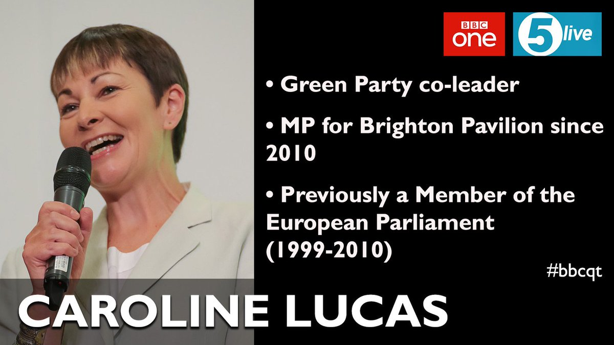 Our second #bbcqt panellist on Thursday is @TheGreenParty co-leader @CarolineLucas