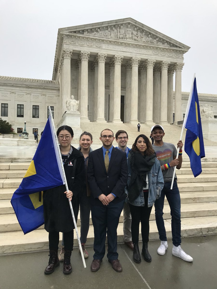 Today, @HRC stood with our allies as @realDonaldTrump's Muslim travel ban was argued at the Supreme Court.   HRC will continue to stand up against all forms of Islamophobia and call out the danger this travel ban creates for #LGBTQ people abroad. #NoMuslimBanEver