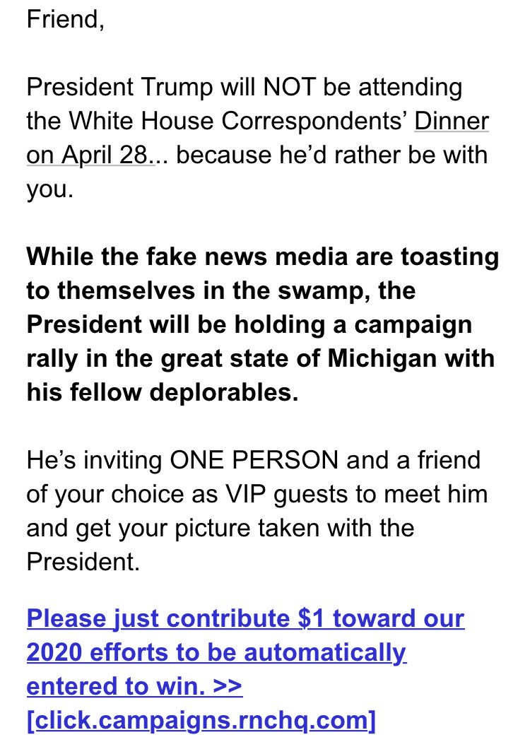 Trump campaign sent another email today fundraising off his decision to skip the WHCA dinner