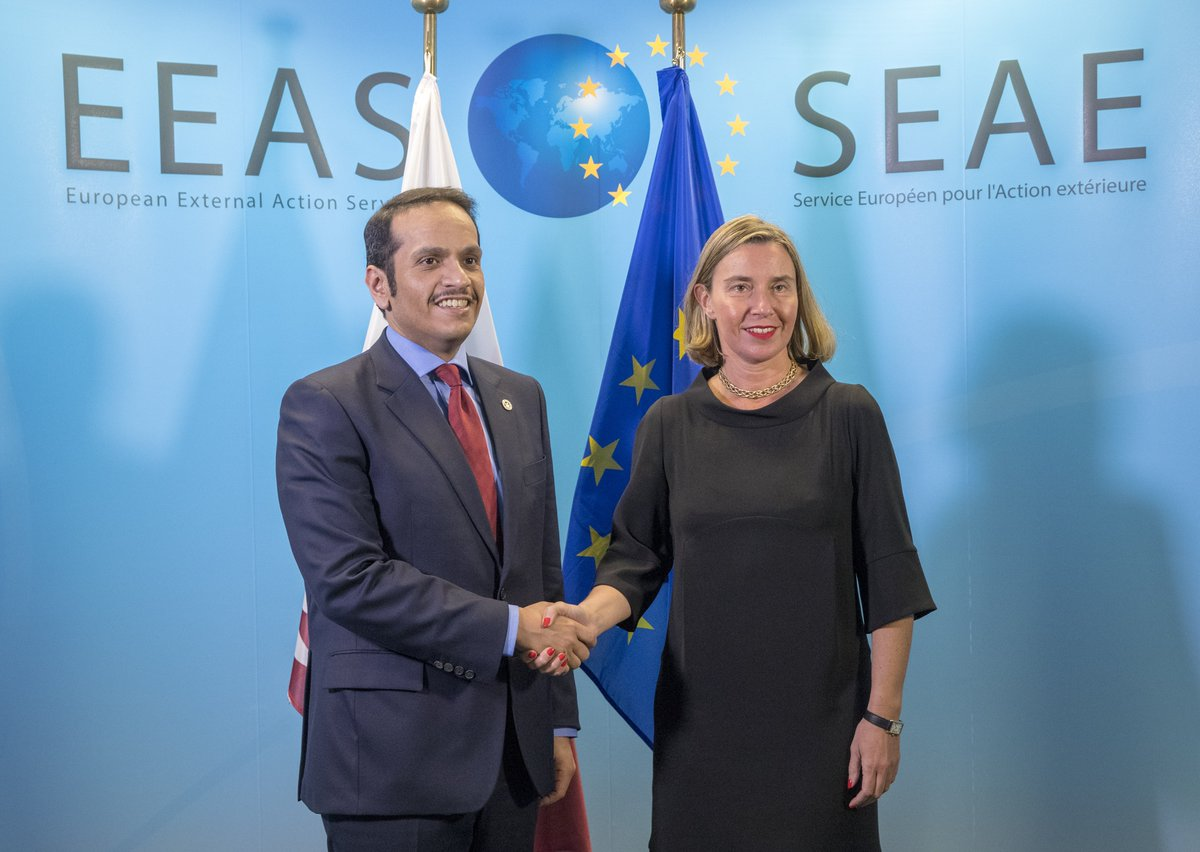 .@FedericaMog meets @MBA_AlThani_ , Minister of Foreign Affairs of Qatar