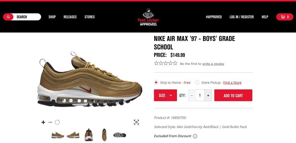 b528dc3f03 denmark the sole restocks on twitter nike air max 97 gold gs. some sizes at