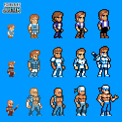 Justin Alexander A Twitter Check Out The Evolution Of Some Of My Character Sprites Over The Years I Didn T Hate The Last Set But Made Some Improvements In Proportion And Detail Tiny