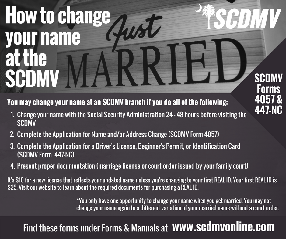 Scdmv On Twitter Changing Your Name Due To Marriage Adoption Or