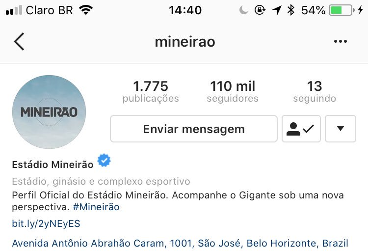 Meta no Instagram ✔️ Falta a do Twitter ainda, sigam @Mineirao https://t.co/rldUVRatUZ