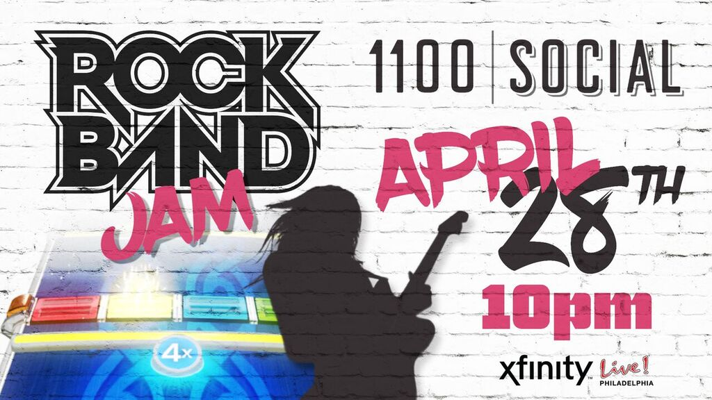 Want to relive those glorious Rock Band days? Were making that happen! Stop by @1100Social this Saturday night for our Rock Band Jam party and show us your skills! Party starts at 10pm--see you there!