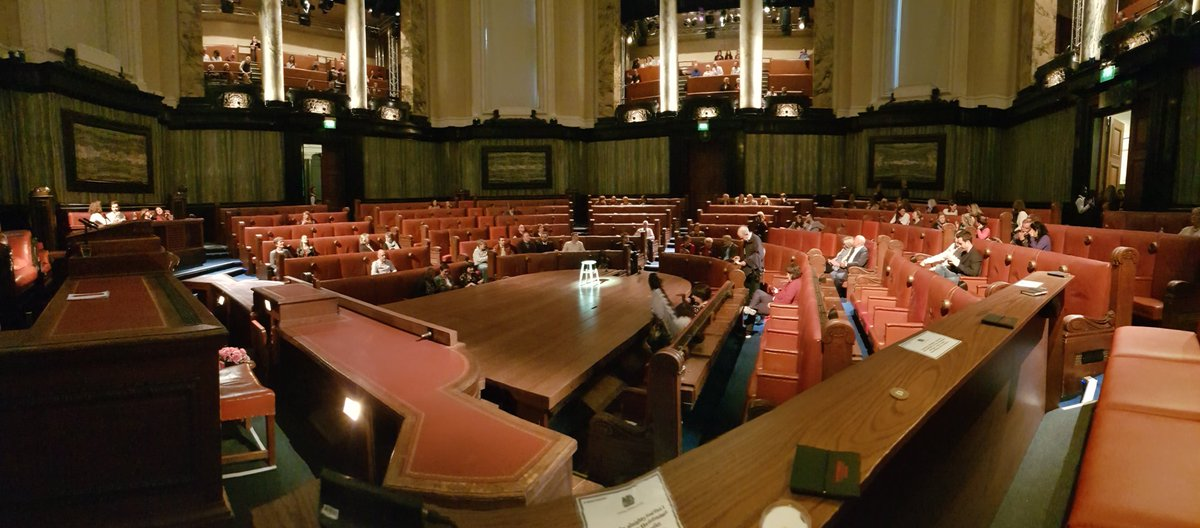 View from the front row of the JURY as we get ready to watch #WitnessForTheProsecution at the old HQ of the GLC, County Hall. Thank-you in advance @witnessplayLDN #SeeYouInCourt #SwornToSecrecy - and thank-you Agatha Christie
