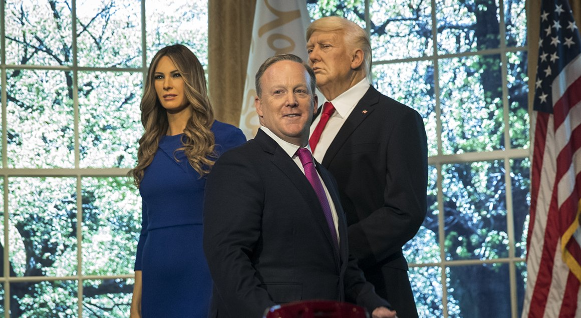 Sean Spicer defended the president's marriage while wax replicas of Donald Trump and first lady Melania loomed threateningly behind him https://t.co/dGt77aQpLX @QuintForgey