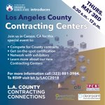 Ready for #SmallBusinessWeek? We're so excited to host our next Contracting Connections event in #Carson & can't wait to introduce you to our new Contracting Centers. @CountyofLA is serious about promoting #smallbusinesses. RSVP today-list will fill fast! https://t.co/xeUueb1jjT