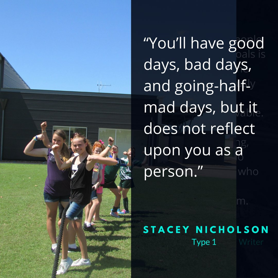 """""""You'll have good days, bad days, and going-half-mad days, but it does not reflect upon you as a person.""""- Stacey Nicholson, #type1. #GoodMorningHealth<br>http://pic.twitter.com/x5K1yEnnxl"""