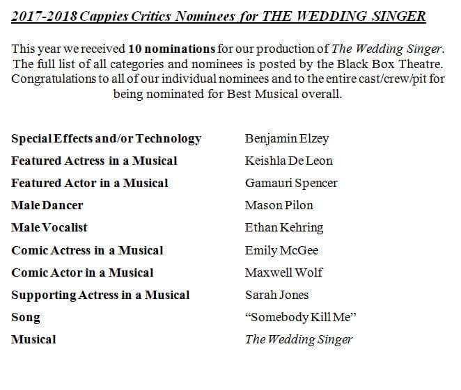 Of The Wedding Singer On 10 Nominations They Received This Week For Baltimore Cies Awards Program Will Be Announced At