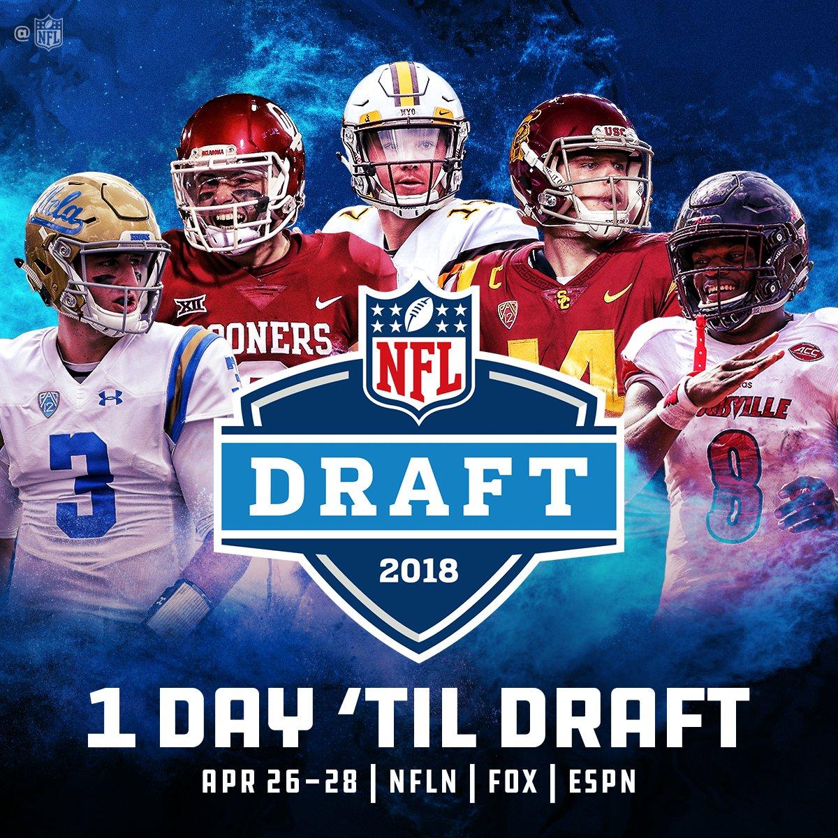 Only 24 hours until the @NFLDraft begins! ��  2018 #NFLDraft starts tomorrow on NFLN/FOX/ESPN https://t.co/YsScmjCKFc