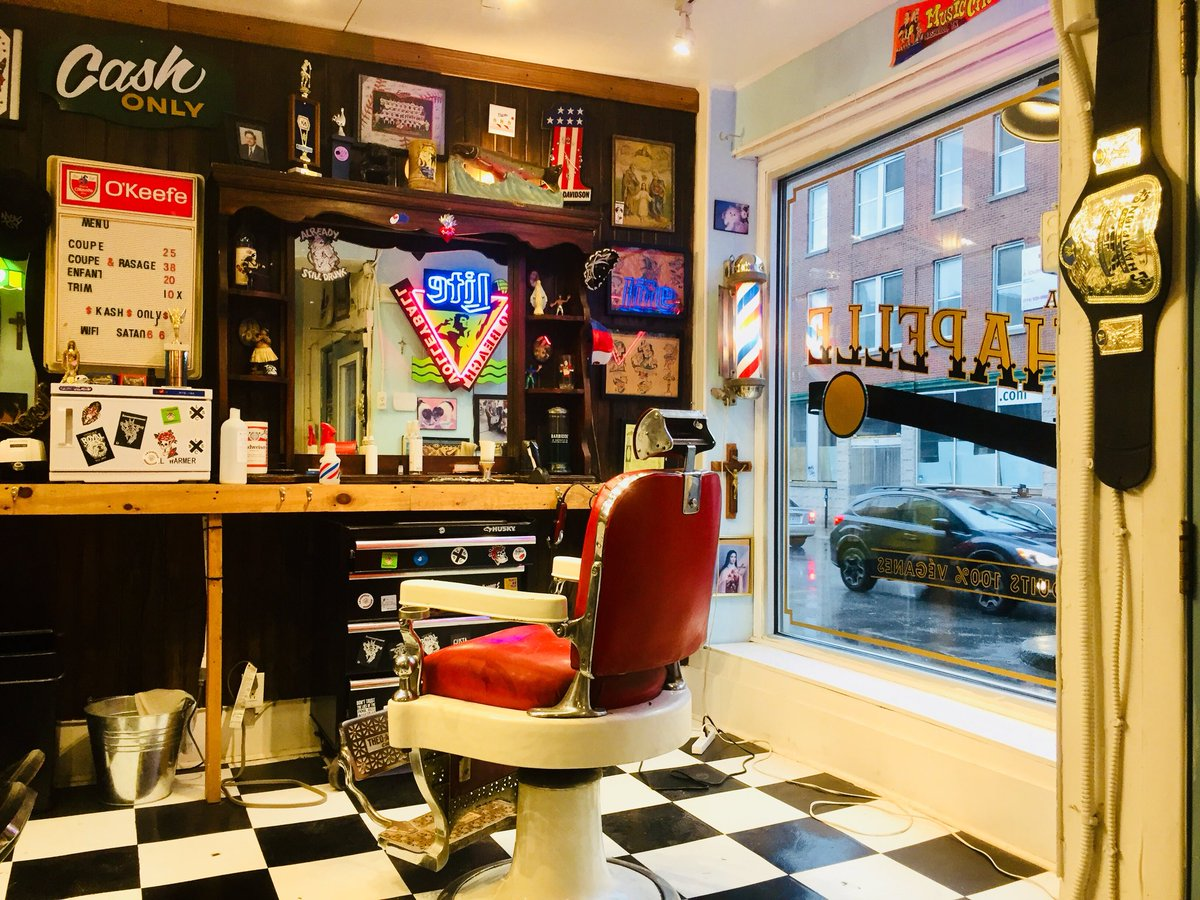 Montréal hipster barbershop with 1980s-tattoo-surfer-metal-head aesthetic. I got served, anyways. The WiFi passcode: Satan666. The amiable Mexican barber wrote the best taquerias in town on a piece of paper.