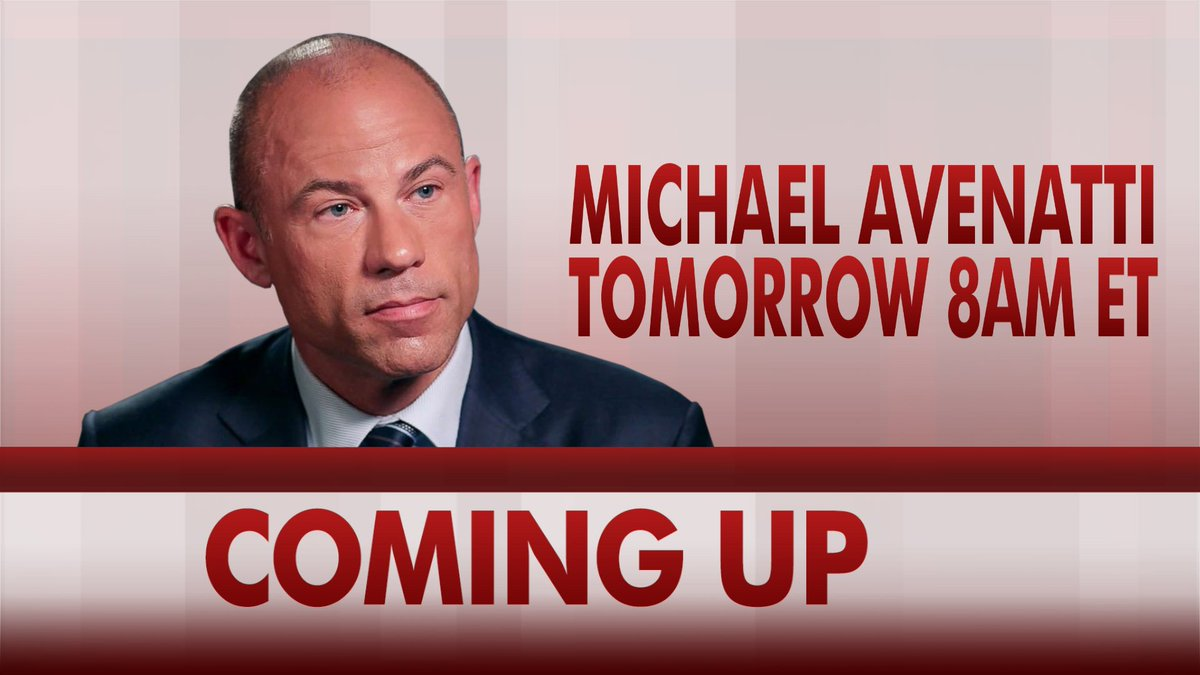 TUNE IN to @MSNBC's @Morning_Joe tomorrow at 8 am ET.   Stormy Daniels' attorney @MichaelAvenatti to discuss latest in the case after Michael Cohen asserts his 5th Amendment rights.