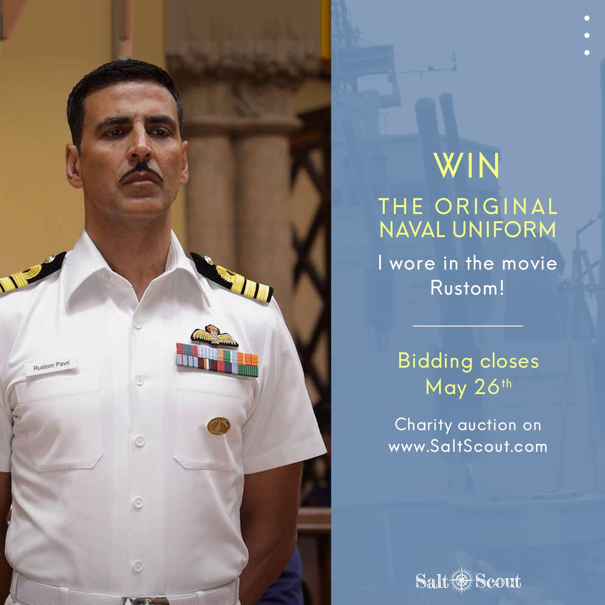 Hi all 🙋🏻♂️ I'm thrilled to announce that you can bid to win the actual naval officer uniform I wore in Rustom! Auction's proceeds will support the cause of animal rescue and welfare. Place your bid at https://t.co/6Qr0LRnTFm!