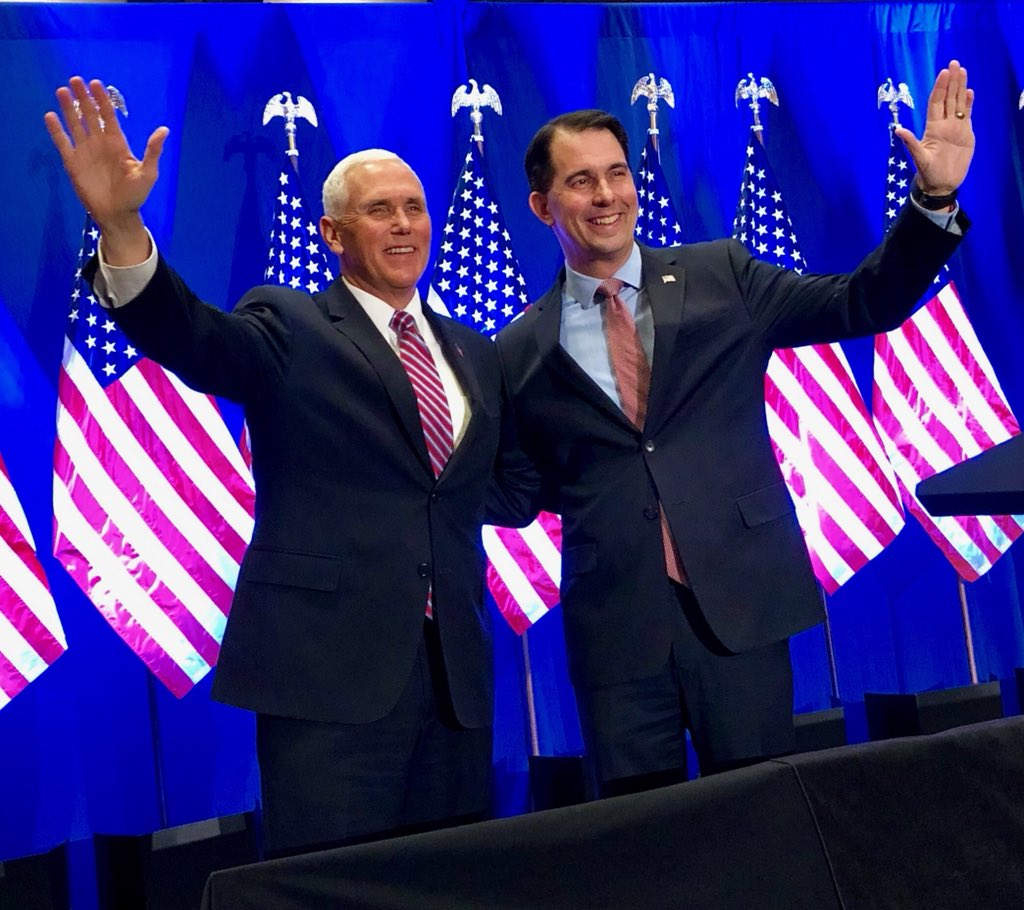 Wisconsin is Working! The economy is soaring and WI needs four more years of @ScottWalker! President @realDonaldTrump and I are proud to stand with Governor Walker as we #MAGA 🇺🇸