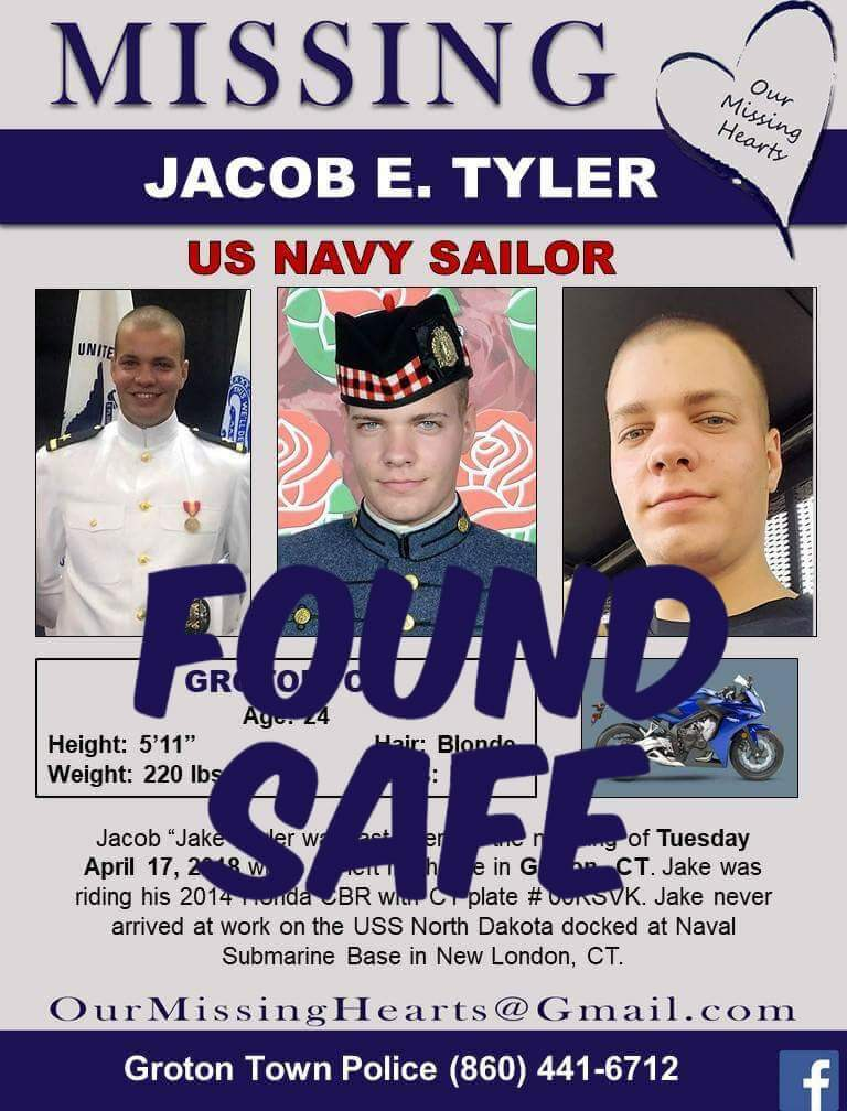 UPDATE... Jacob Tyler, 24, New England sailor, missing since 04.17.2018, HAS been found safe!! Thank you for your RTs  #JacobTyler #FoundSAFE #Military #USNavy #SilverAlert #NewEngland #Groton #NewLondon #Connecticut <br>http://pic.twitter.com/rdhL3teb0J