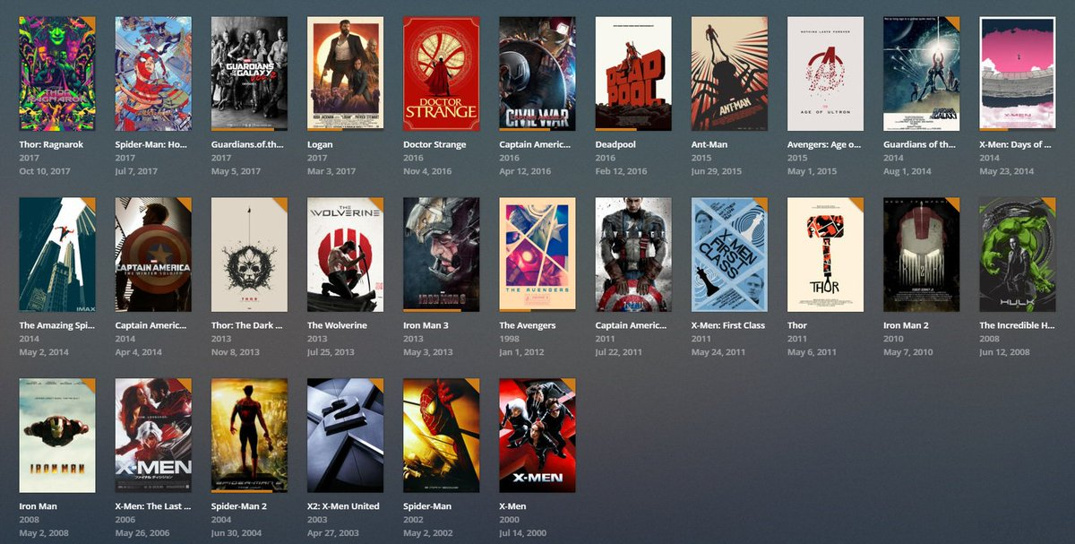 My Plex library of Marvel movies in chronological order with custom poster art is getting PRETTY NERDY AND COMPREHENSIVE 🙏
