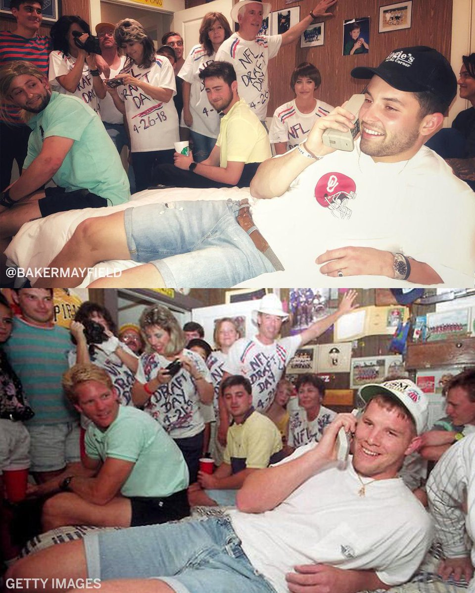 Baker Mayfield went all out to recreate this photo of Brett Favre during the draft.