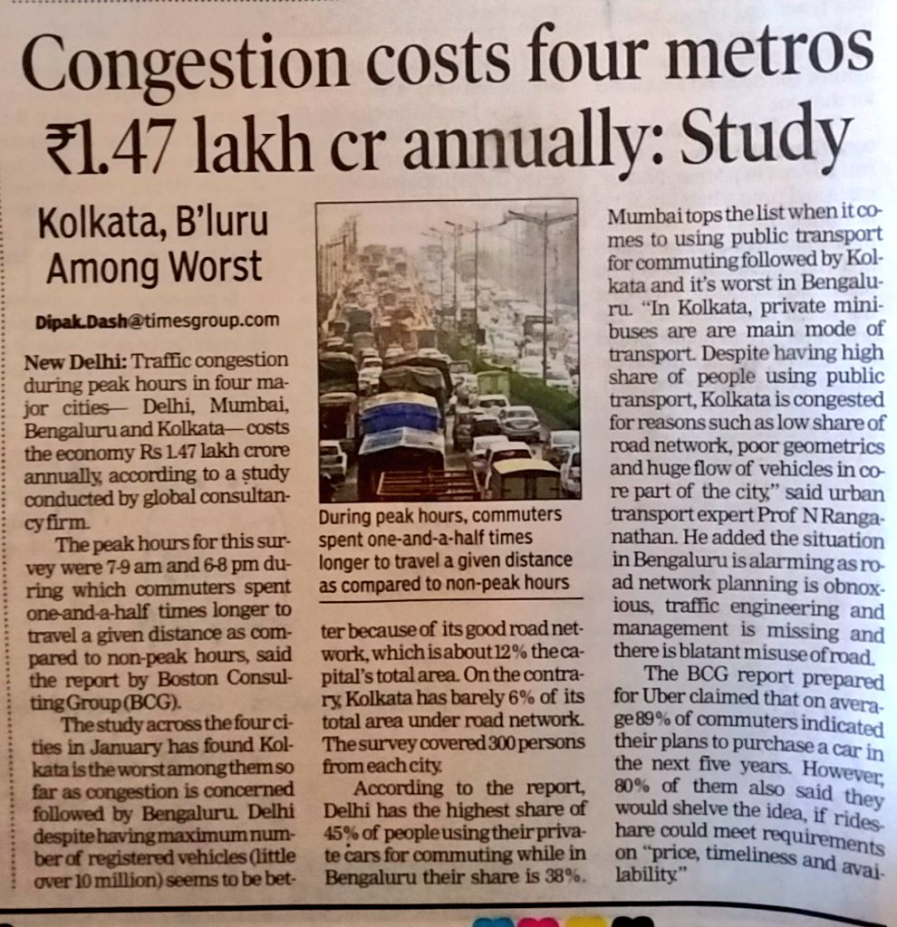 Congestion cost four metros (#Delhi, #Mumbai, #Bengaluru, #Kolkata)Rs 1.47 lakh crore annually- @BCG Study: 1.Kolkata is the worst in congestion. 2.Delhi highest share of commuters using private vehicle.  3.Mumbai tops in #PublicTransport use.  4. 89% will buy car in nxt 5 yrs<br>http://pic.twitter.com/HRNiwACrPm