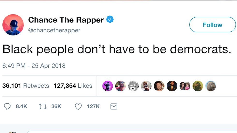 Chance the Rapper defends Kanye's praise of Trump: Black people don't have to be Democrats https://t.co/iXJ5Cm9d4k
