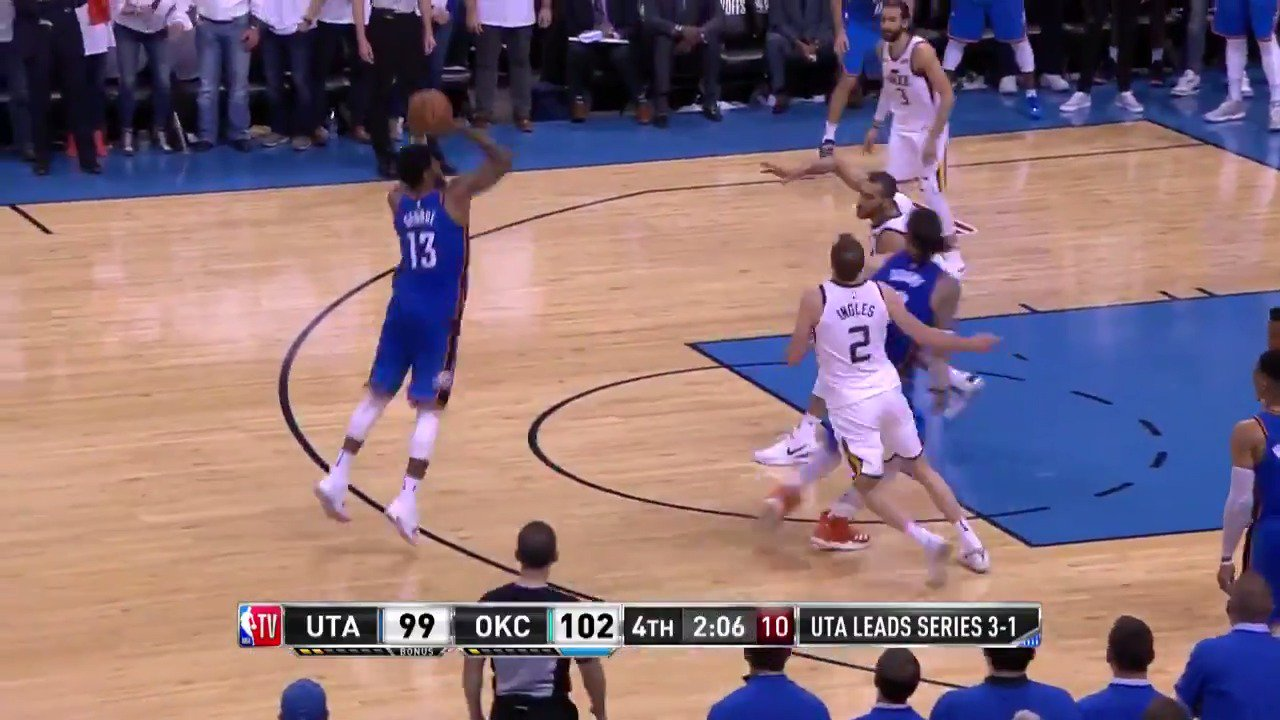 Paul George increases the @okcthunder lead!  #ThunderUp 107 | #TakeNote 99  1:24 left to play on @NBATV https://t.co/LMc6M9AjYe