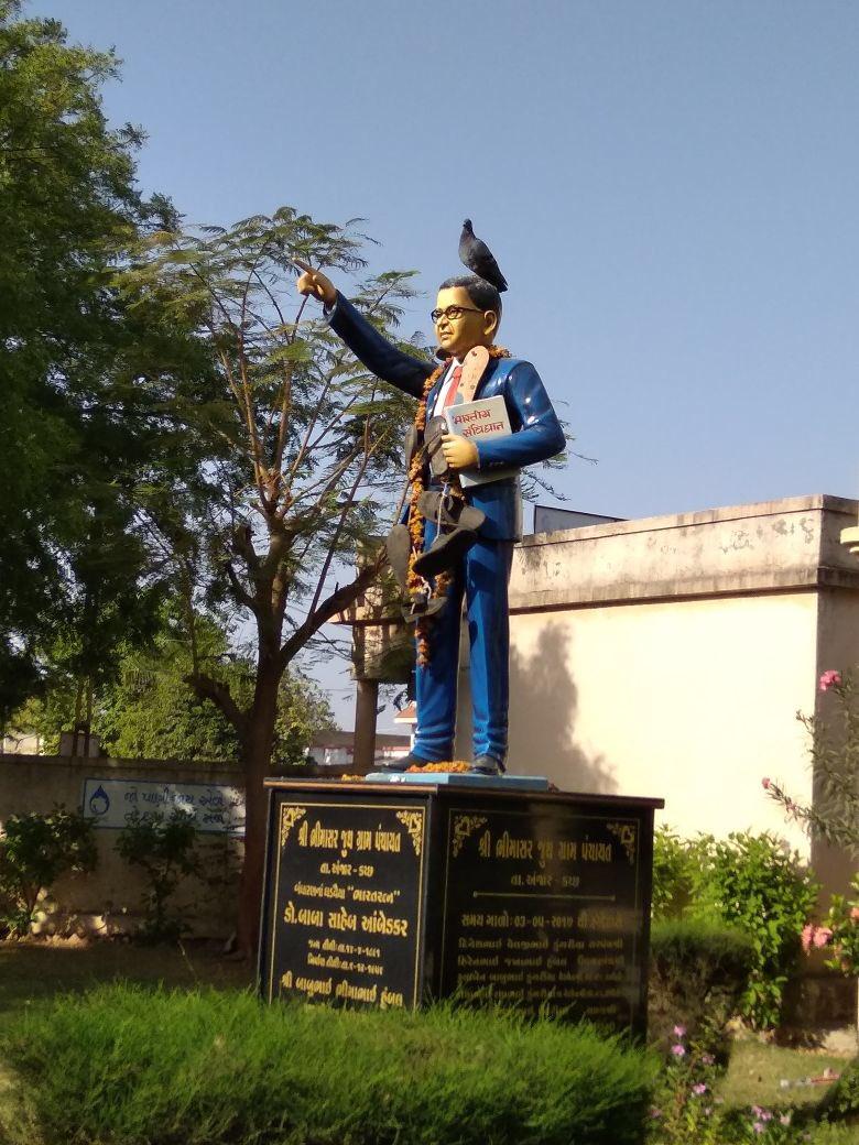 Tension in Gujarat village as unknown miscreants put foot-wears garland on Ambedkar statue