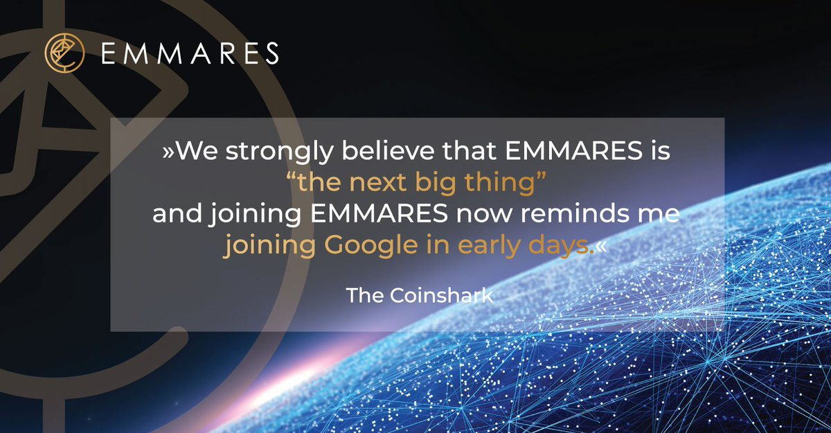"»We strongly believe that EMMARES is ""the next big thing"" and joining EMMARES now reminds me joining Google in early days.« The Coinshark Join EMMARES private pre-sale here:  http:// bit.ly/register-KYC  &nbsp;   #ico #crypto #blockchain #EmailMarketing <br>http://pic.twitter.com/IEV7h6gVw7"