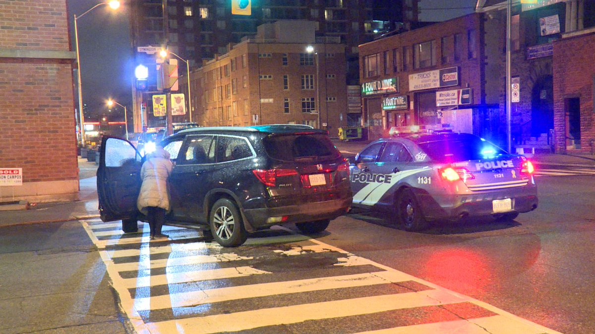 Crash: Bloor St and Sterling Ave in Toronto. Pedestrian struck with serious head injuries. Lane restrictions in the area.