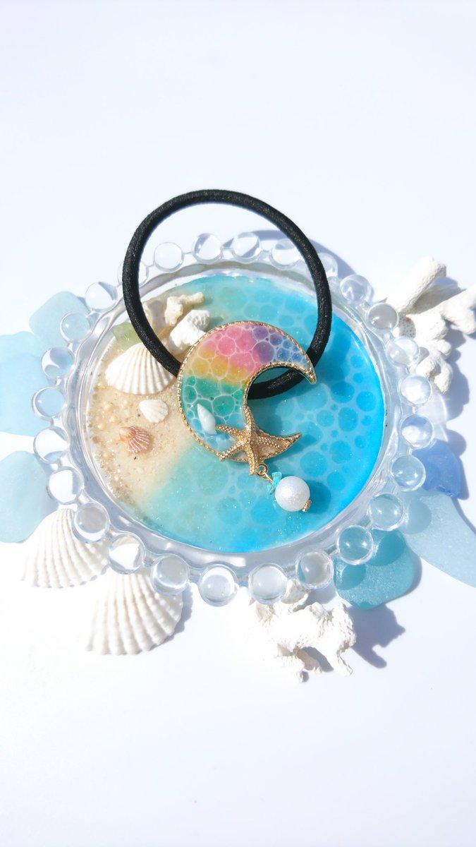 琉球ガラスの海のヘアゴム