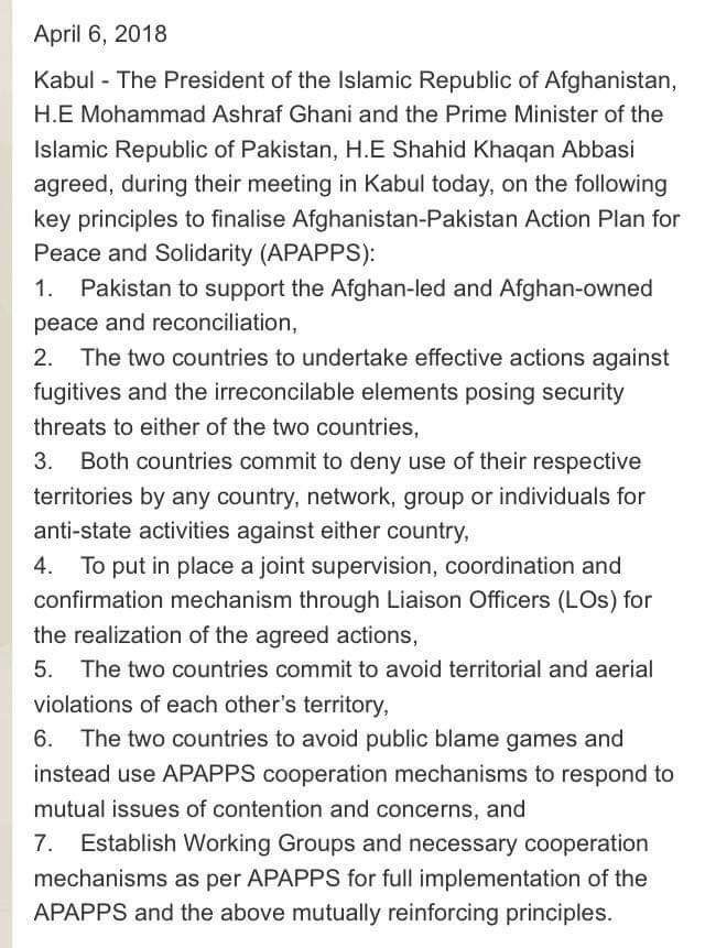 The Afghan NSA suggested to have an Action Plan for the implementation of all the agreed 7 principles on timely manner so that atmosphere of trust is developed between the two countries.(2)