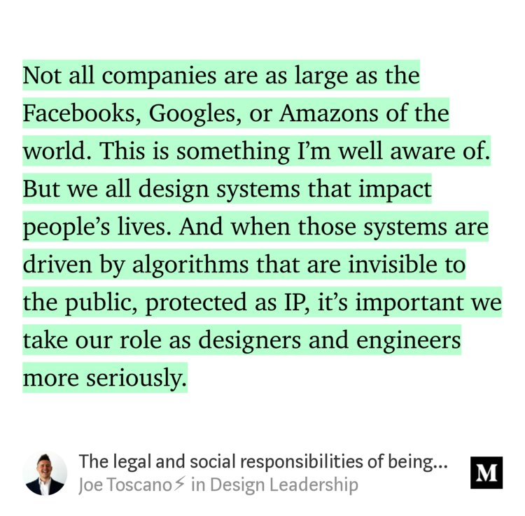 """The legal and social responsibilities of being a designer in the 21st Century"" — @realjoet  https:// medium.com/design-leaders hip/the-legal-and-social-responsibilities-of-being-a-designer-in-the-21st-century-8c34b6e6e06d#---0-347 &nbsp; …  #design #designthinking #ux #ethics #privacy #surveillance <br>http://pic.twitter.com/9xnERgSnsP"
