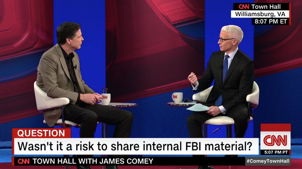 WATCH: Anderson Cooper confronts Comey over leaked memos: 'Is it ok for somebody at the FBI to leak?' https://t.co/C9fvq8UeOe