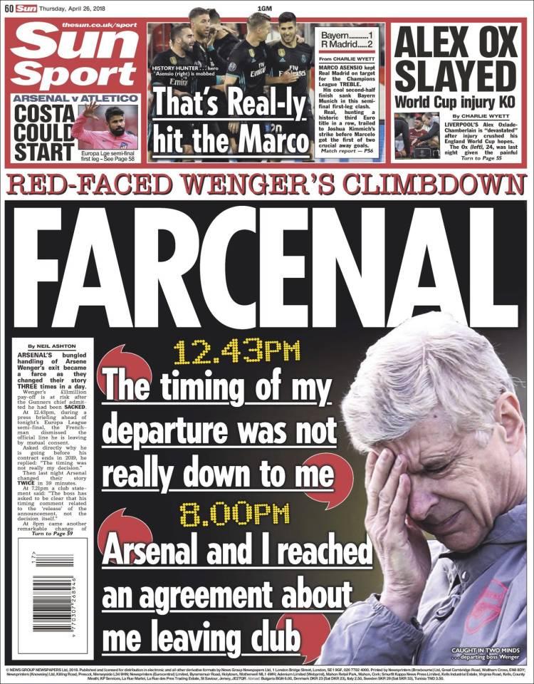 📰 REVUE DE PRESSE 📰    En #Angleterre la presse revient sur #Arsenal et le départ de #Wenger    -> Pour le  'F#Sunarcenal', le quotidien se moque de la communication du club  et#londonien de la gestion de l'annonce du départ de son  ! #coach #Foot
