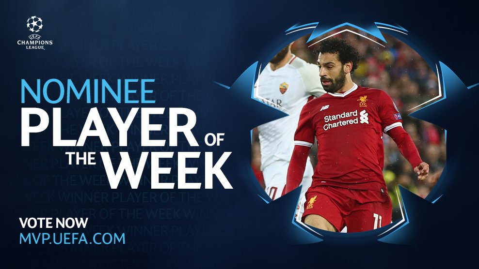 Salah's outstanding performance during #LFC's win over AS Roma has earned him a nomination for the @ChampionsLeague Player of the Week award. 🔥  Get voting 👉https://t.co/8cpBGMVCLO