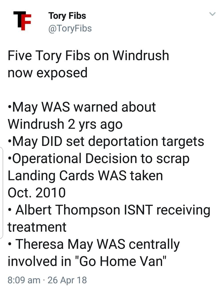 Jeremy was right to call on Rudd to resign over #Windrush  As well as Rudd and the Tories being exposed as instituionally racist over Windrush...  The Tories have now been exposed as liars.  #RuddResign<br>http://pic.twitter.com/kVYxoI6p36