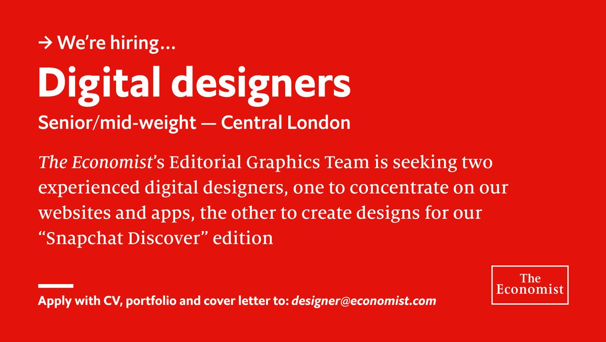 WE'RE HIRING. The Economist is seeking two Digital Designers—view the full job specs here: Web/Apps https://t.co/C1XHDs8iir Snapchat Discover https://t.co/mUK2oyNNzN