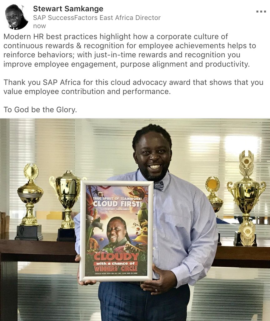 With just-in-time rewards and recognition you improve employee engagement, purpose alignment &amp; productivity.   Thank you @SAPAfrica @successfactors for this cloud advocacy award that shows that you value employee contribution and performance.   #TeamWork #EmployeeEngagement #HR<br>http://pic.twitter.com/xjeRxkvPM8
