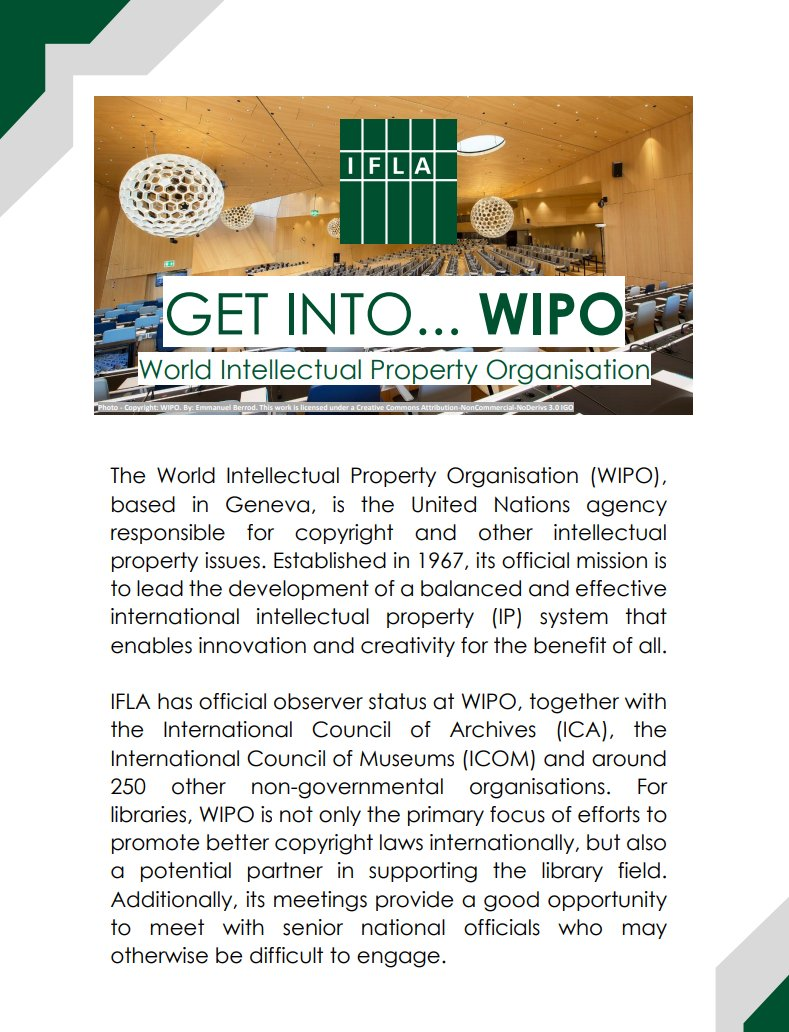 "IFLA on Twitter: ""Today is #WorldIPDay, but you can get involved in @IFLA's  work with @WIPO throughout the year! See our new ""Get into #WIPO"" guide"" in  English https://t.co/STDISWc3Up, en español https://t.co/KmZwobf114,"