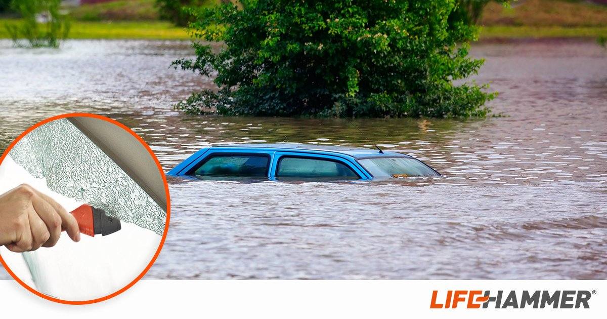 Do you know how to get out of your car when you get stuck in a flash flood? Don&#39;t risk your (and your family&#39;s) life! A quick and easy way to escape your car is by using a Lifehammer:  http:// bit.ly/2CfldRG  &nbsp;   #flashflood #flooding<br>http://pic.twitter.com/n71oOfpLSE