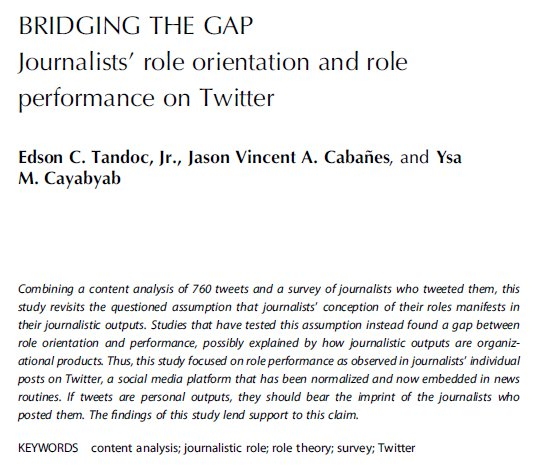 Based on WJS and Twitter data, new study by @iamedson et al. found that journalists&#39; role orientations and performance are linked  https:// doi.org/10.1080/146167 0X.2018.1463168 &nbsp; …  @EJOnews #journalism <br>http://pic.twitter.com/srZdBZEBAb