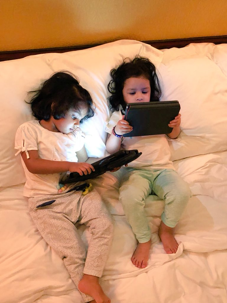 The new BFF in town!! Gracia and Ziva🤩😍Currently busy looking at last night's match highlights on their tablets😉 #DigitalWorld #TwoLittlePrincess  #IPL2018