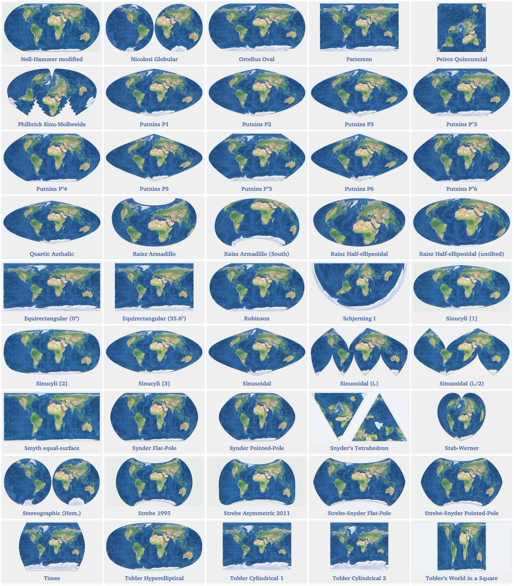Bunch of Basic Earth Projections in comparison  http:// bit.ly/2vTYMPU  &nbsp;   Priceless for #cartography fans #DataViz #GIS #CRS<br>http://pic.twitter.com/lD5Lqldwbn