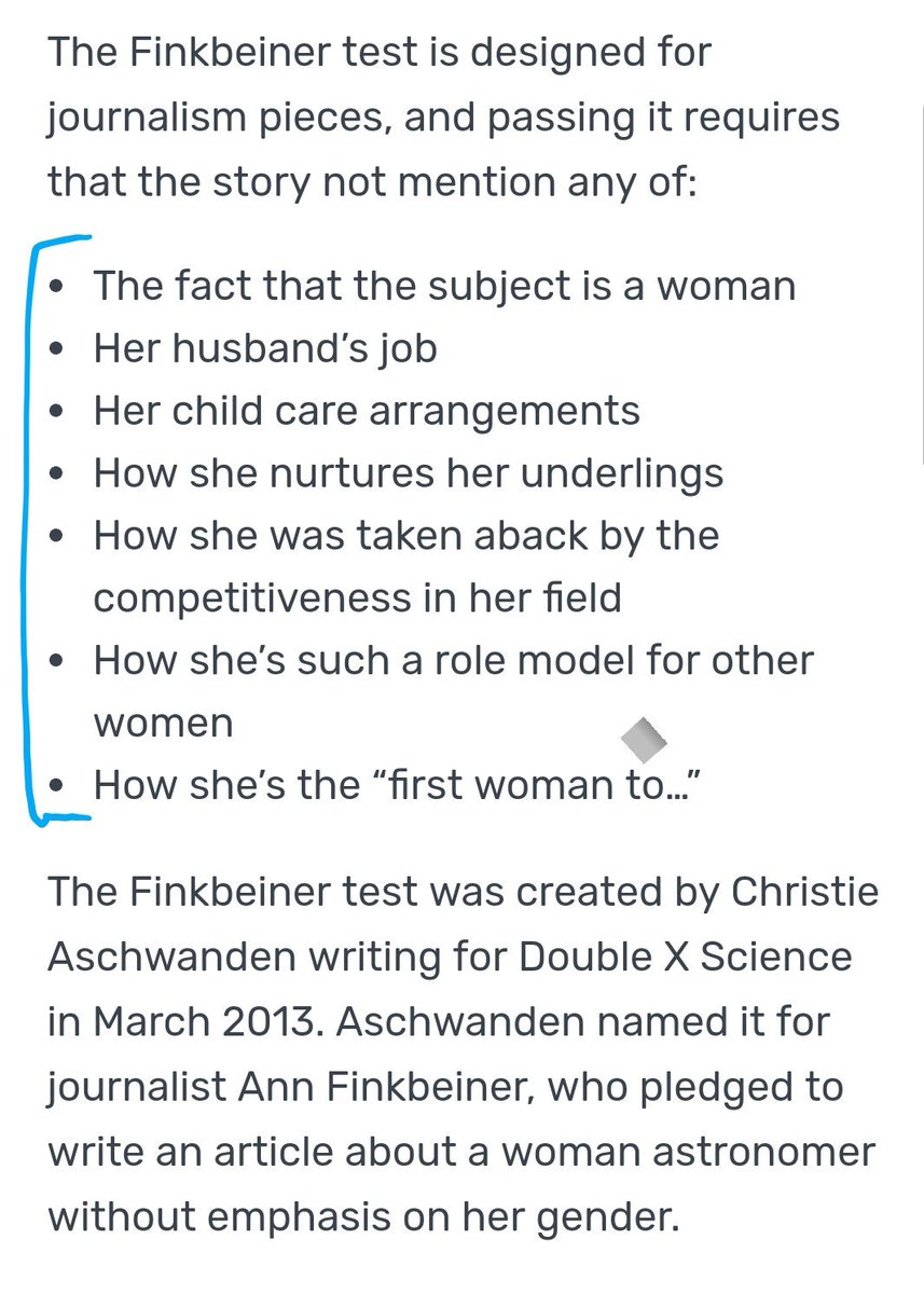 Use the Finkbeiner test(test for journalism pieces similar to the Bechdel test for media) to write about and evaluate writing about women. #ACESMeTooCE #ACES2018 #science #journalism <br>http://pic.twitter.com/OScINuX2cS