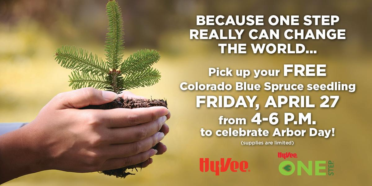 hy vee tomorrow starting at 4 pm will receive a colorado blue spruce seedling compliments of hy vees one step program happy arbor day - Hyvee Christmas Eve Hours