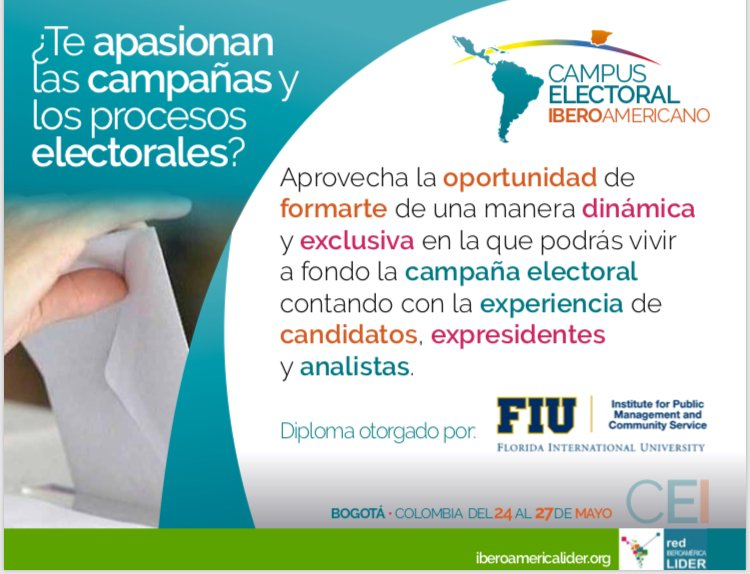 🚨🇨🇴 ¡Aprovecha la oportunidad y vive en primera persona las elecciones presidenciales de Colombia! Campus Electoral Iberoamericano, Bogotá del 24 al 27 de mayo.  Más en: http://www.iberoamericalider.org/cei-2018/  @dacefuy @iberolider