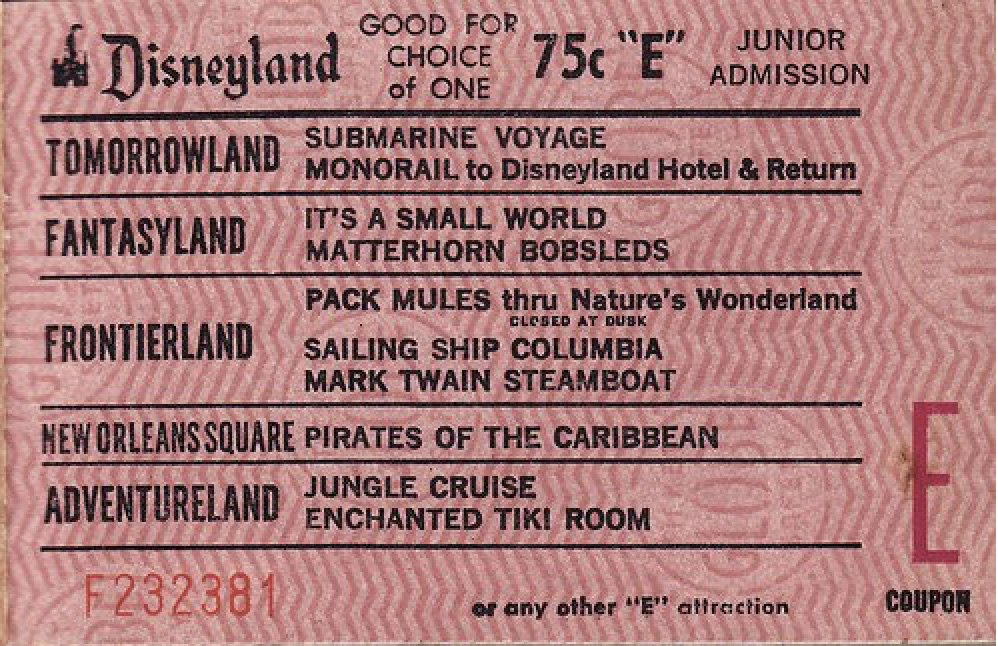 Old Disneyland Ticket